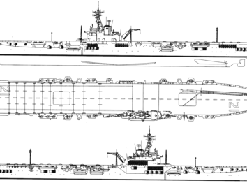 Авианосец hmcs magnificent cvl 21 1950 (majestic class light carrier) - чертежи, габариты, рисунки