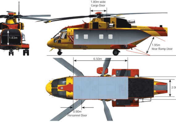 Вертолет AgustaWestland AW101 Search And Rescue Helicopter Interior - чертежи, габариты, рисунки